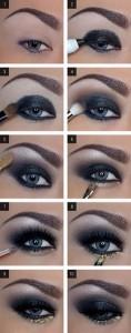 Para um look mais exótico, podes optar por um olhar esfumado em negro e prateado, terminando com brilho dourado debaixo do olho