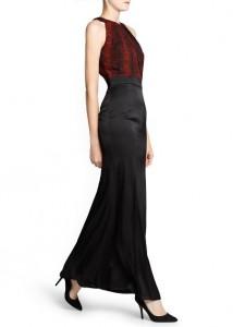 Vestido comprido combinado serpente - Mango Outlet: 19,99€