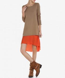 Vestido em tecido com sobreposição em malha - Lanidor: 20,95€