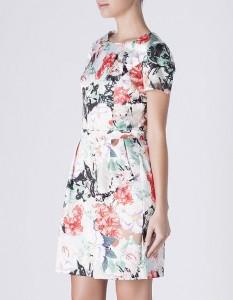 Vestido cetim flores - Blanco: 39,99€