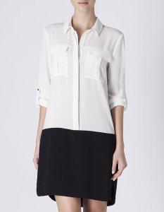 Vestido estilo camisa bicolor - Blanco: 32,99€