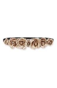 Bandolete metálica com rosas em dourado rosa - Primark: 3,00€